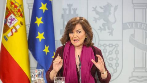 La vicepresidenta del Gobierno, Carmen Calvo, comparece en el Palacio de la Moncloa para explicar la figura del relator que pretende introducir el Gobierno para mediar entre Cataluña y España.