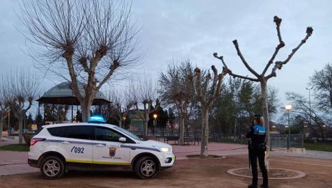 Una agente y un coche de la Policía Local de Tudela.