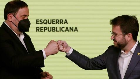 Junqueras y Aragonés, tras conocer el resultado electoral.