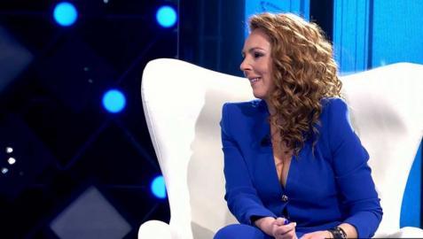 Rocío Carrasco, durante un momento de la entrevista en Telecinco.