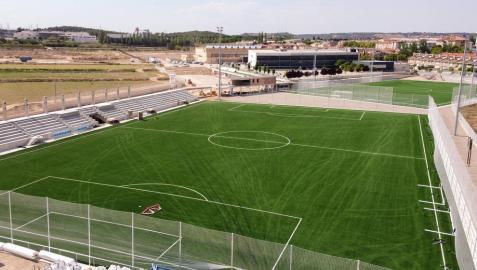 Estado actual de las obras de construcción de los campos de fútbol del complejo deportivo de Tudela.