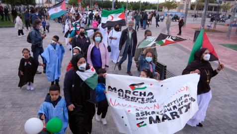 Comienzo de la 'Marcha por la Libertad del Pueblo Saharaui', este viernes en Berriozar.