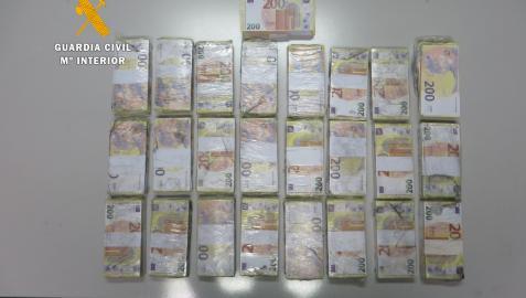 Billetes falsos encontrados en los aseos del polígono Los Montalvos de Salamanca.