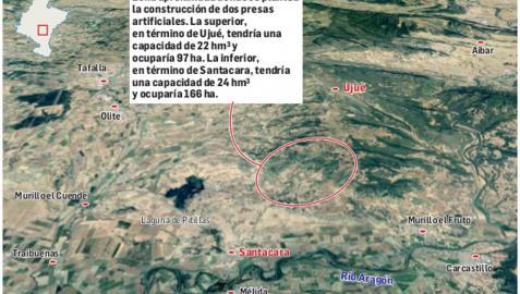 Zona aproximada donde se plantea la construcción de dos presas artificiales.