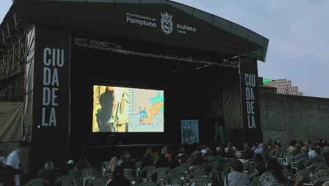 Escenario de la Ciudadela donde se proyectó el cortometraje 'Bulit', de Mikel Urmeneta