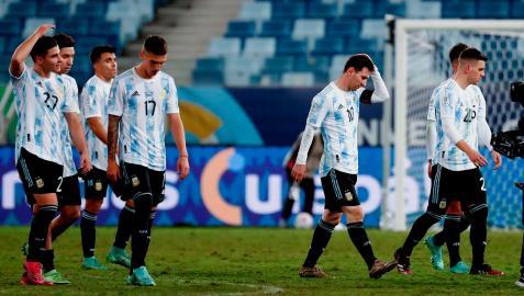 Selección Argentina durante el partido contra Bolivia, a quien golearon este martes