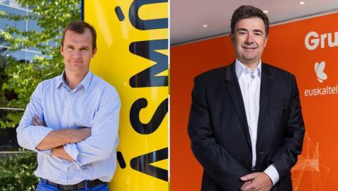 El consejero delegado de Más Móvil, Meinrad Spenger (i), y el consejero delegado de Euskaltel, José Miguel García.