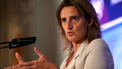Teresa Ribera, durante su intervención este jueves en el Foro de la Nueva Economía.