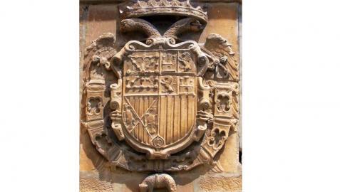 Escudo de Carlos V en la muralla de Viana