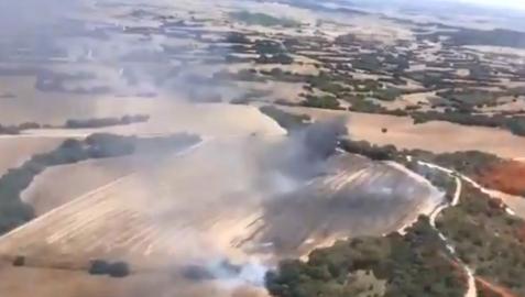 Imagen del incendio en Oteiza de la Solana