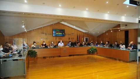 Un momento de la sesión plenaria del Ayuntamiento de Tafalla