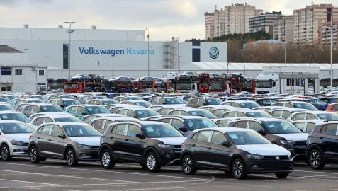 El exterior de la factoría de Volkswagen Navarra, en Landaben, en una imagen de archivo