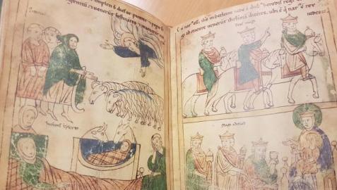 Segunda Biblia de Pamplona (Ausburgo, Biblioteca Universitaria, Cod.I.2.4º 15), h.1200. Nacimiento de Cristo y Anuncio a los pastores. Viaje de los Reyes Magos. Epifanía