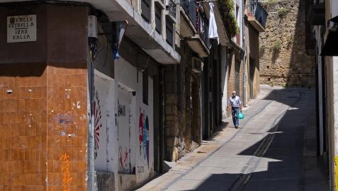 Uno de los puntos del  Casco Viejo de la localidad, en la  calle donde se vivieron las aglomeraciones