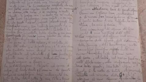Imagen de la carta del soldado italiano publicada en el periódico La Stampa.