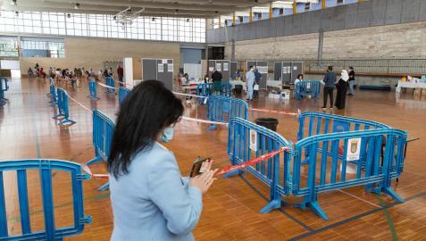 Vacunación en el polideportivo de Jesuitas en Tudela