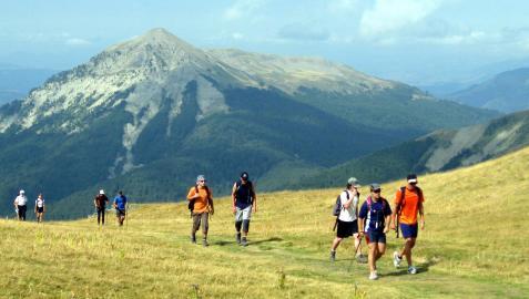 Varias personas en una marcha nórdica por los Pirineos en una imagen de archivo.
