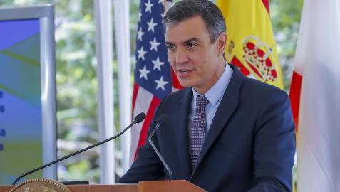 Pedro Sánchez, durante su estancia en Los Ángeles