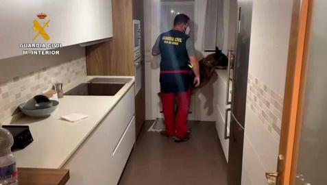 Un agente de la Guardia Civil en el interior de una de las viviendas intervenidas