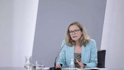 Nadia Calviño, durante la comparecencia tras el Consejo de Ministros