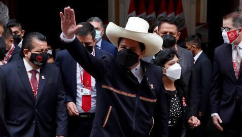 Pedro Castillo llegando al Palacio de Gobierno para la investidura