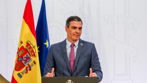 Pedro Sánchez, durante su comparecencia de este jueves