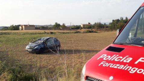 Imagen del accidente en la NA-601 en Mues