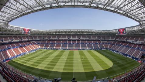 Interior del estadio El Sadar, casa del CA Osasuna