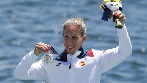Teresa Portela, feliz con su medalla de plata