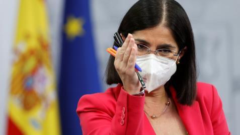 Carolina Darias, ministra de Sanidad, durante la rueda de prensa tras el Consejo de Sanidad Interterritorial