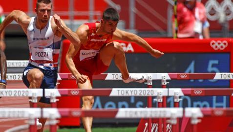 Asier Martínez,en la final de los 110 m vallas masculino de los Juegos Olímpicos de Tokio 2020