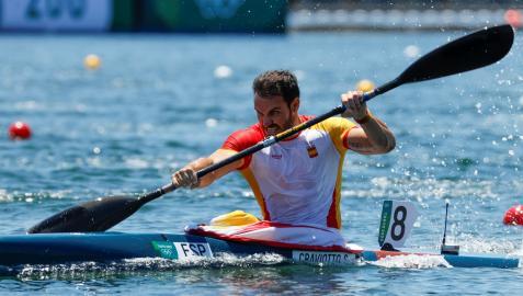 Saúl Craviotto, en la final de 200 m kayak individual masculino de piragüismo en esprint de los Juegos Olímpicos de Tokio 2020
