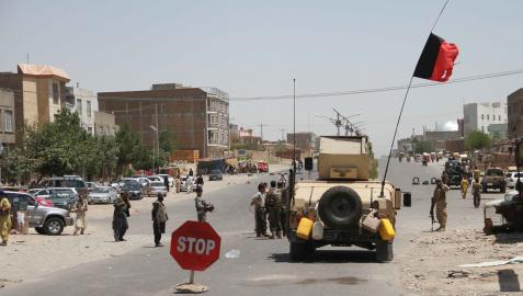 Fuerzas de seguridad en la ciudad de Herat, en Afganistán.