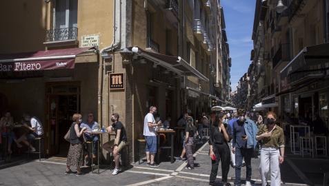 Imagen genérica de la calle Estafeta de Pamplona, tomada el pasado mayo