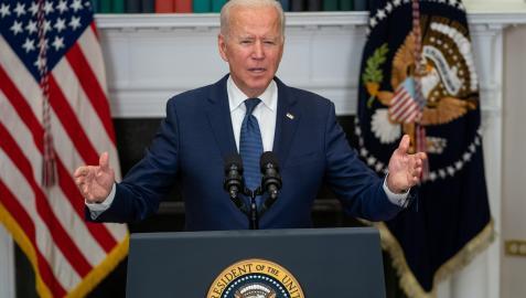 El presidente estadounidense, Joe Biden, en la comparecencia ante los medios desde la Casa Blanca.
