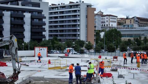 Obras del nuevo colegio de infantil en el barrio de Lezkairu de Pamplona