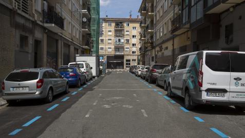 Calle Doctor Landa, en San Jorge, donde ya está pintada la zona azul