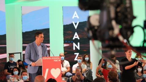 El presidente del Gobierno, Pedro Sánchez, interviene en un acto del PSOE en Jaén