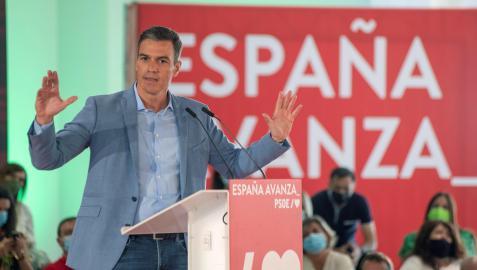 El presidente del Gobierno, Pedro Sánchez, pronuncia un discurso durante un acto del PSOE celebrado en Jaén