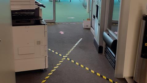 Instalaciones de Sarriguren ya preparadas para el regreso de la plantilla el lunes.