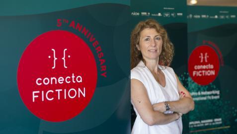 Geraldine Gonard, directora de Conecta Fiction, en el Baluarte de Pamplona, donde ya está todo preparado para una nueva edición