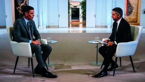 Pedro Sánchez, en su entrevista de este lunes en RTVE