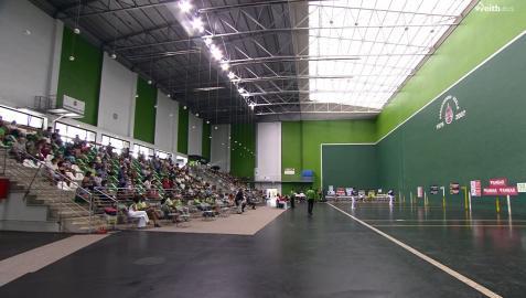 Panorama que ofrecía el frontón Jostaldi de Hondarribia el pasado domingo en la semifinal