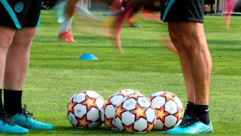 Entrenamiento de los futbolistas del Inter