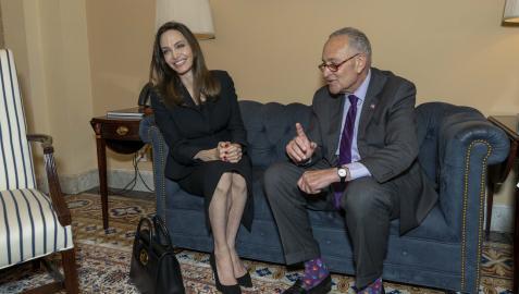 Angelina Jolie se reunió co el líder demócrata en el Senado, Chuck Schumer