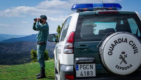 Un agente de la Guardia Civil, realizando labores de vigilancia