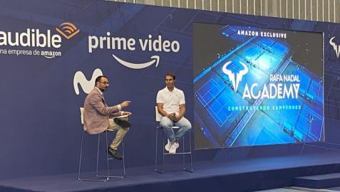 Rafa Nadal en la presentación del documental 'Rafa Nadal Academy. Construyendo Campeones', que se emitirá en Amazon Prime Video, Movistar y Audible