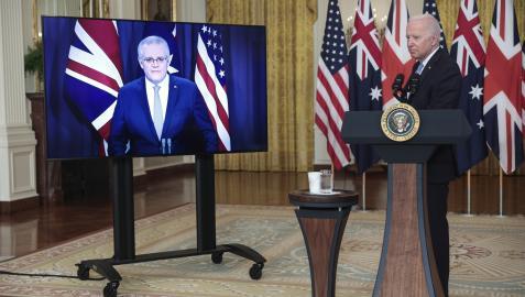El primer ministro australiano, Scott Morrison y el presidente de EEUU, Joe Biden, durante el anuncio del acuerdo alcanzado con Reino Unido en materia de seguridad, tecnología y defensa