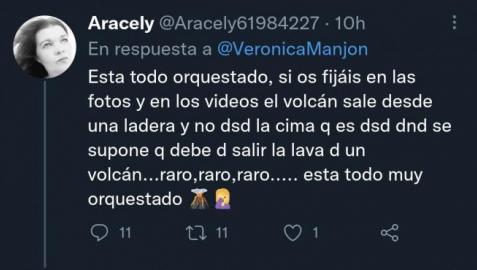 Uno de los tweets de los que dicen que la erupción del volcán de La Palma es falsa.