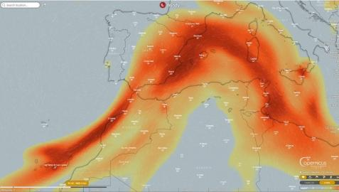 Mapa del avance hacia el Mediterráneo del dióxido de azufre que emite el volcán de La Palma